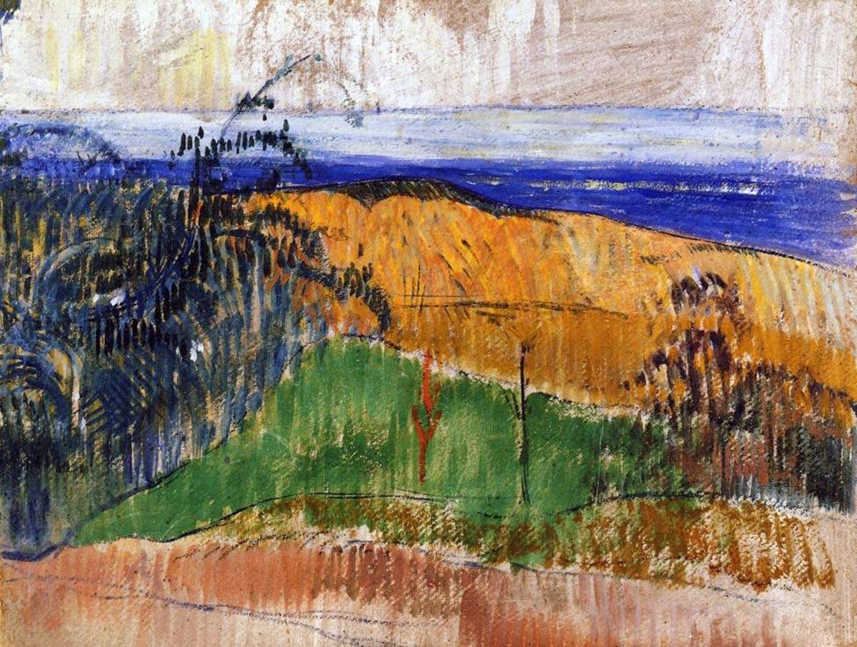 пейзаж < Вид с пляжа Беллангенай >  :: Поль Гоген [ живопись постимпрессионизм ] - Paul Gauguin фото