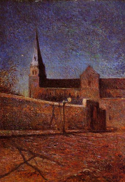 пейзаж < Церковь Вогирард >  :: Поль Гоген [ живопись постимпрессионизм ] - Гоген Поль ( Paul Gauguin ) фото