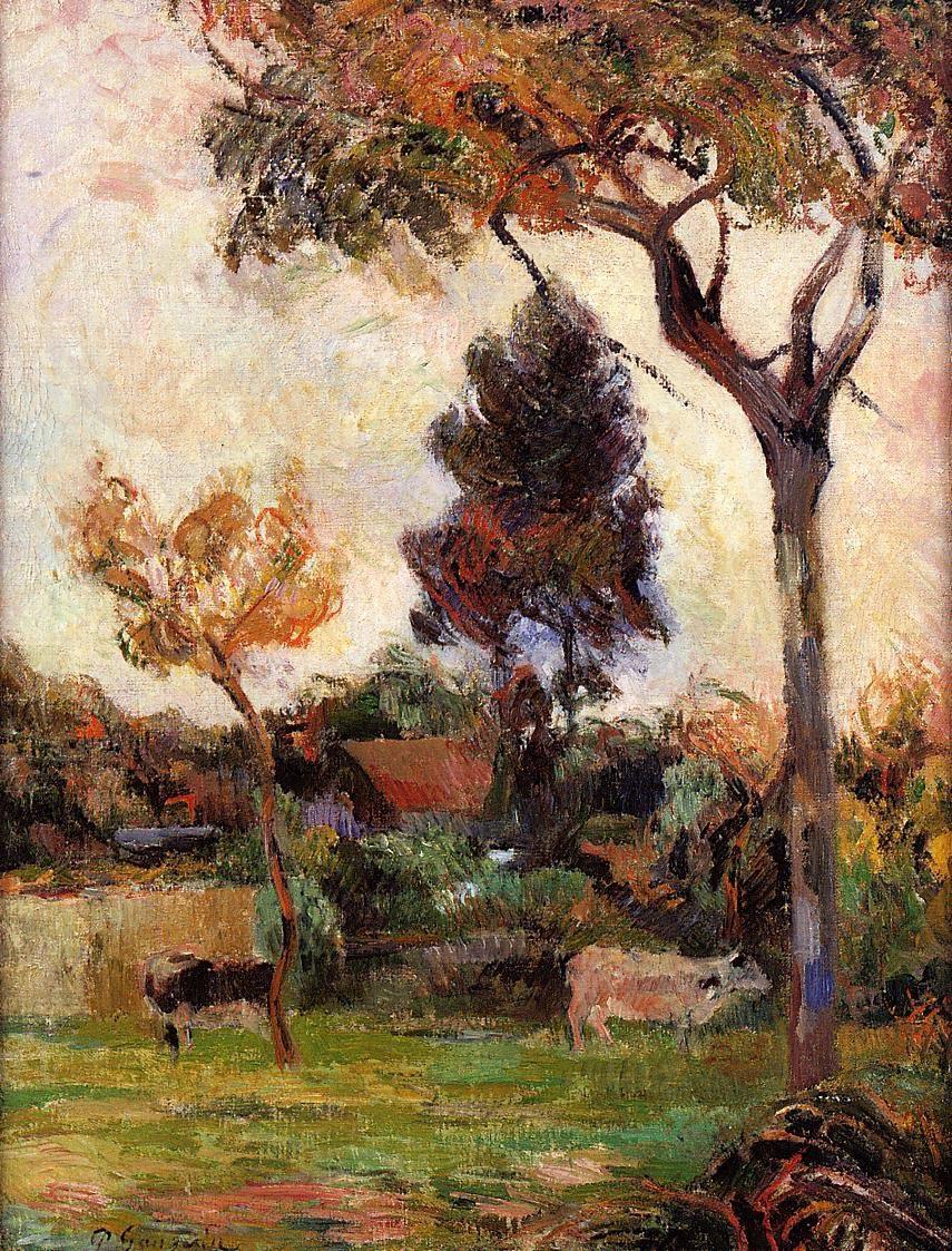 пейзаж < Две коровы на лугу >  :: Поль Гоген [ живопись постимпрессионизм ] - Гоген Поль ( Paul Gauguin ) фото