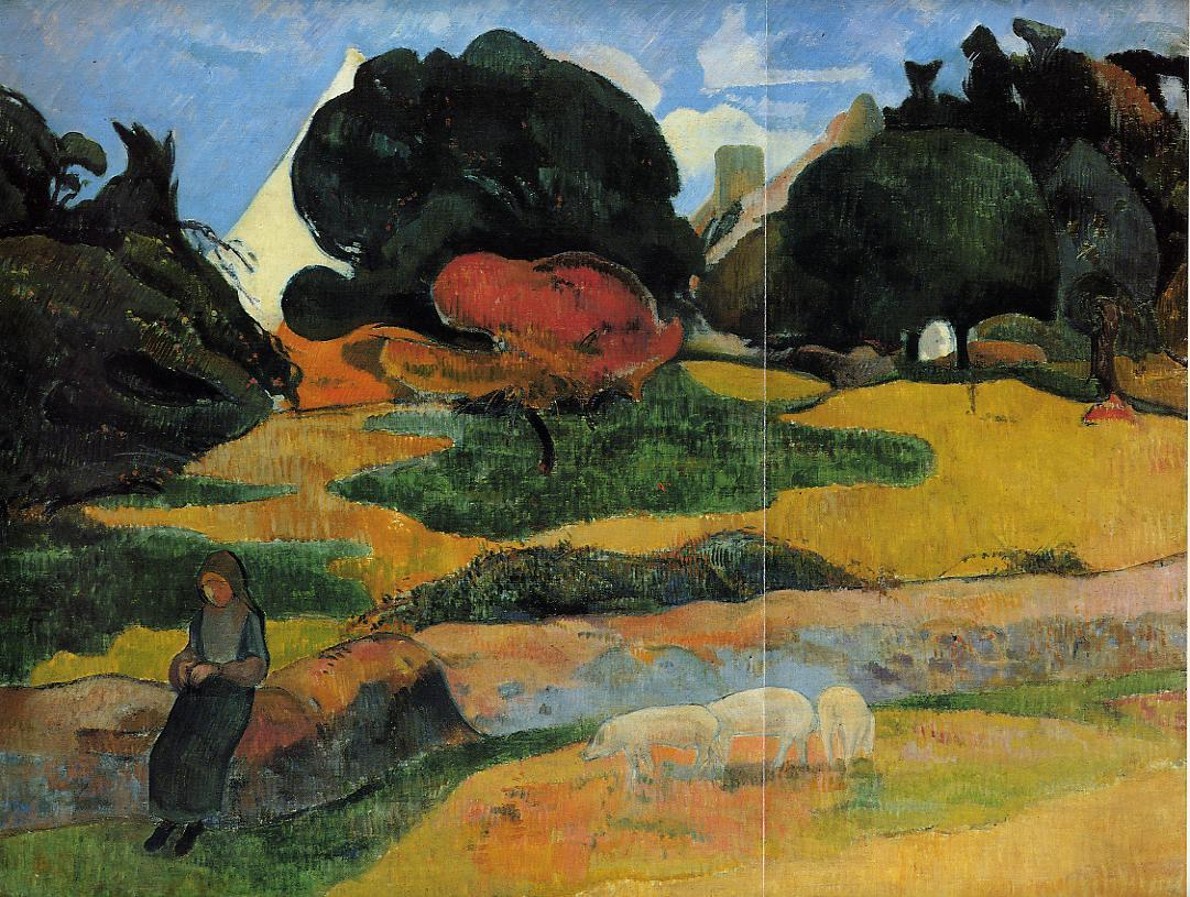 пейзаж < Свинопас >  :: Поль Гоген [ живопись постимпрессионизм ] - Paul Gauguin фото