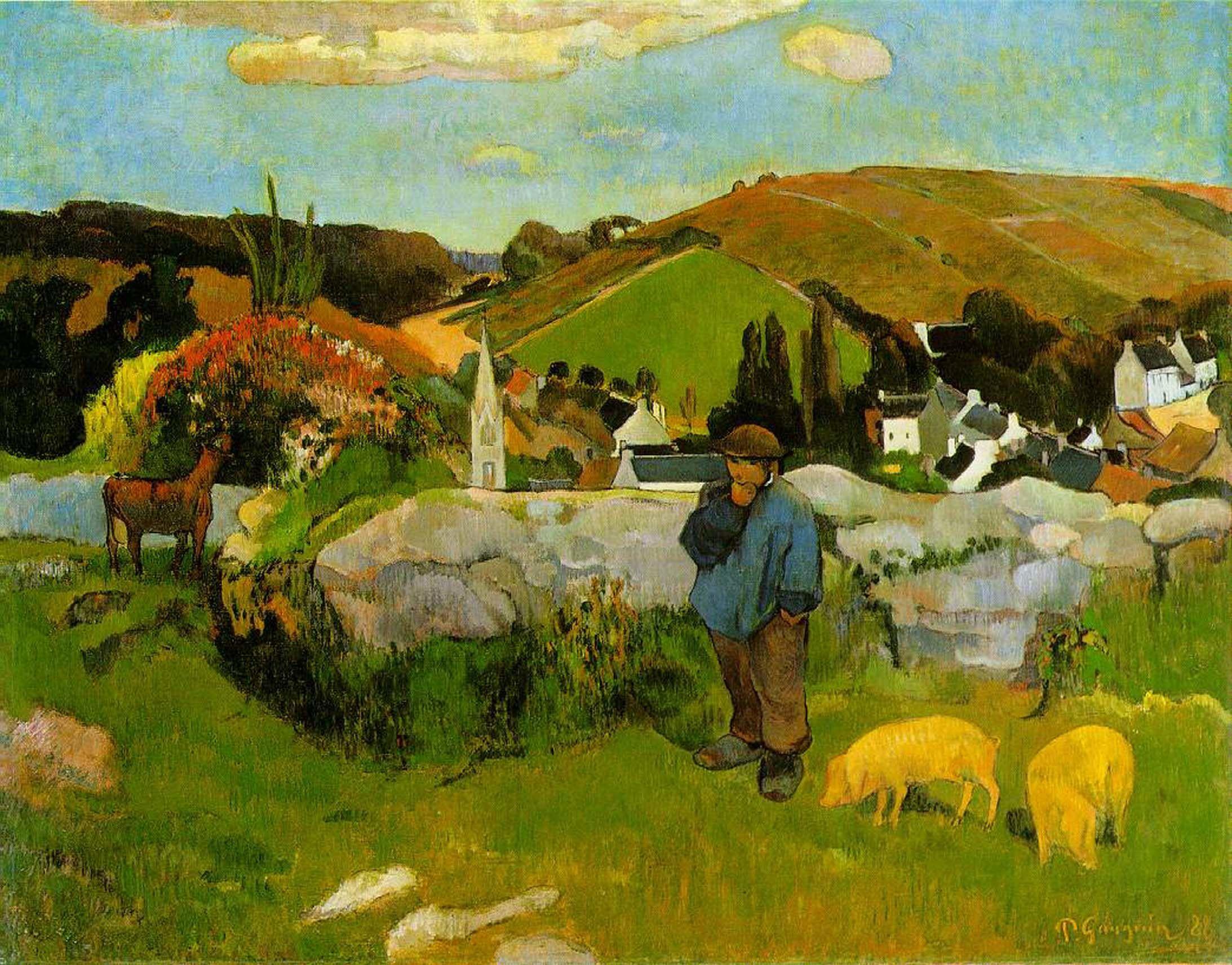 пейзаж < Свинопас >  :: Поль Гоген [ живопись постимпрессионизм ] - Гоген Поль ( Paul Gauguin ) фото