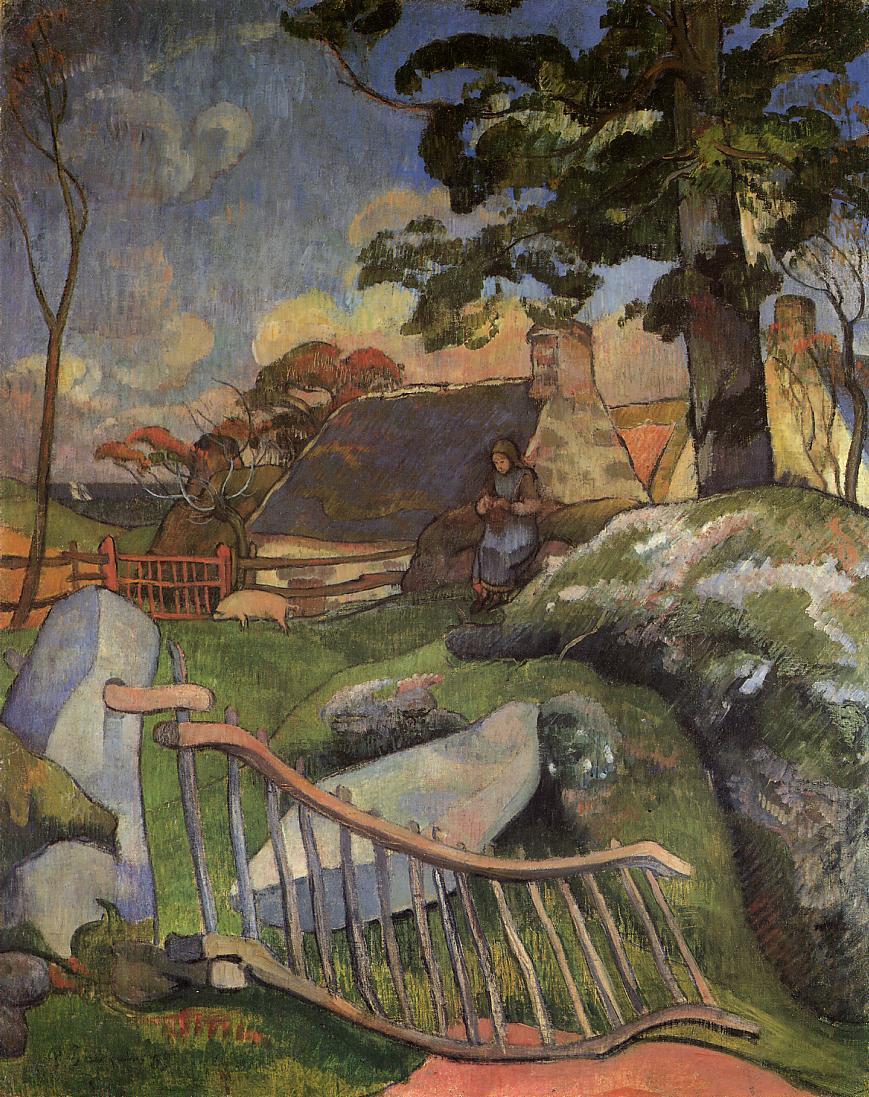 пейзаж < Ворота (Свинопас) >  :: Поль Гоген [ живопись постимпрессионизм ] - Paul Gauguin фото