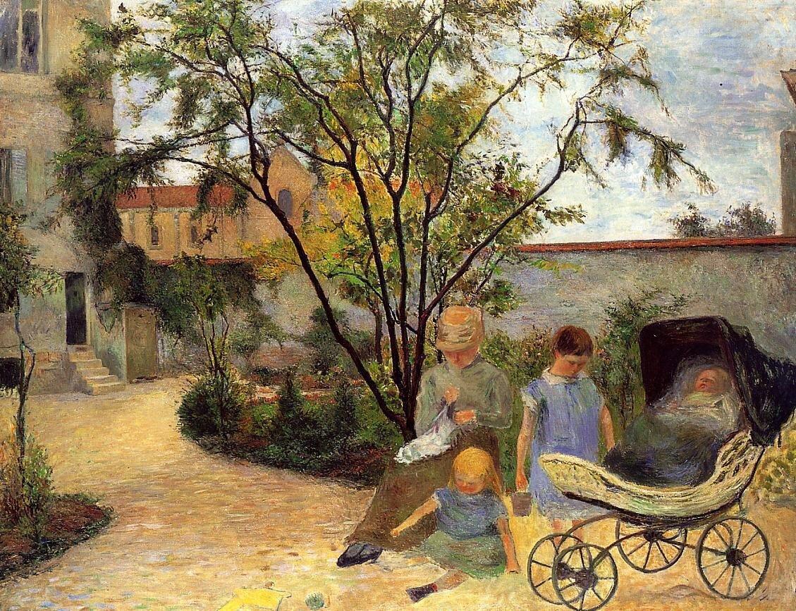 пейзаж < Семейство в саду >  :: Поль Гоген [ живопись постимпрессионизм ] - Гоген Поль ( Paul Gauguin ) фото