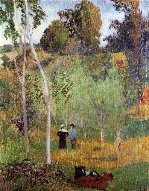 пейзаж < Пастух и пастушка на лугу >  :: Поль Гоген [ живопись постимпрессионизм ] - Гоген Поль ( Paul Gauguin ) фото