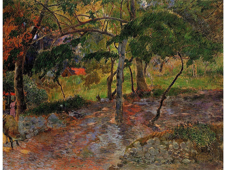 пейзаж < Река под деревьями >  :: Поль Гоген [ живопись постимпрессионизм ] - Гоген Поль ( Paul Gauguin ) фото