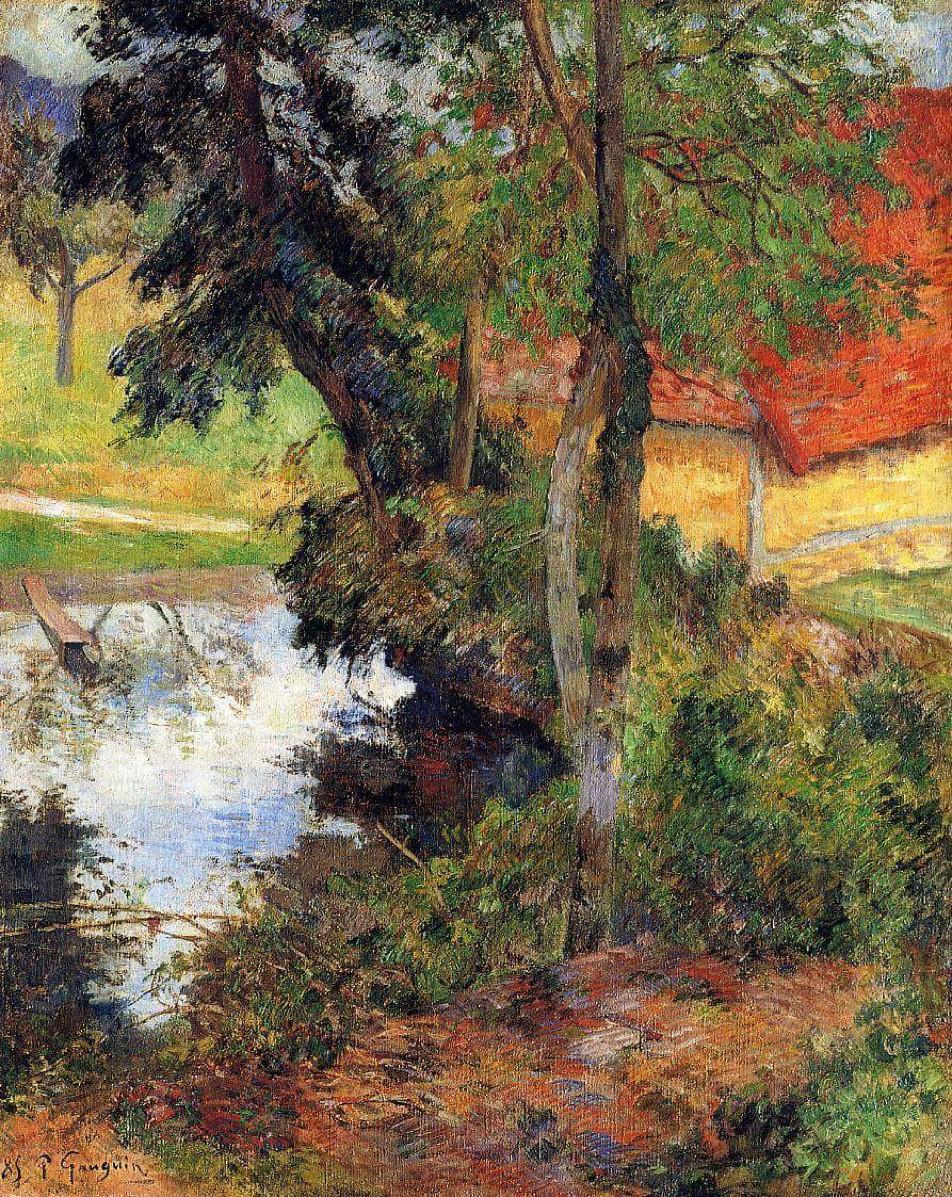 пейзаж < Красная крыша у воды >  :: Поль Гоген [ живопись постимпрессионизм ] - Гоген Поль ( Paul Gauguin ) фото