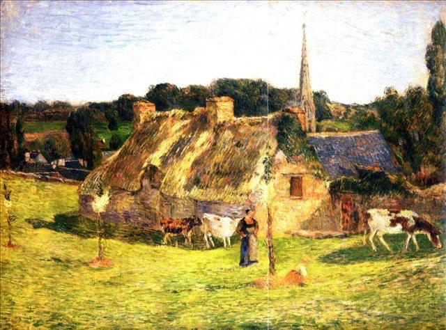 пейзаж < Поле и церковь в Понт-Эвен >  :: Поль Гоген [ живопись постимпрессионизм ] - Paul Gauguin фото