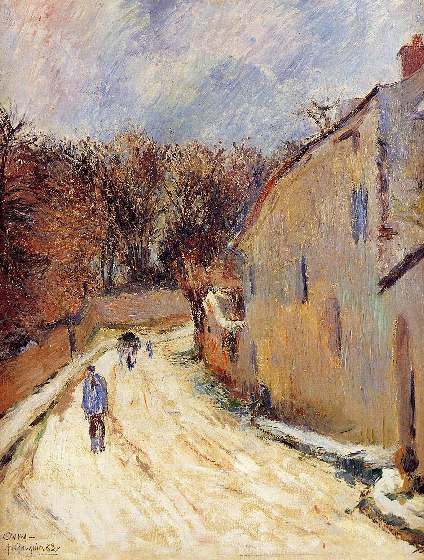 пейзаж < Осни, улица Понтуа зимой >  :: Поль Гоген [ живопись постимпрессионизм ] - Гоген Поль ( Paul Gauguin ) фото