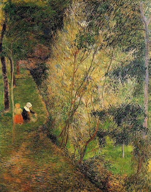 пейзаж Женщина с ребёнком из Понт-Эвена :: Поль Гоген - Paul Gauguin фото