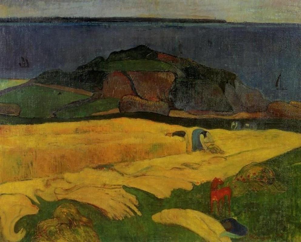 пейзаж < прибрежная жатва >  :: Поль Гоген [ живопись постимпрессионизм ] - Paul Gauguin фото