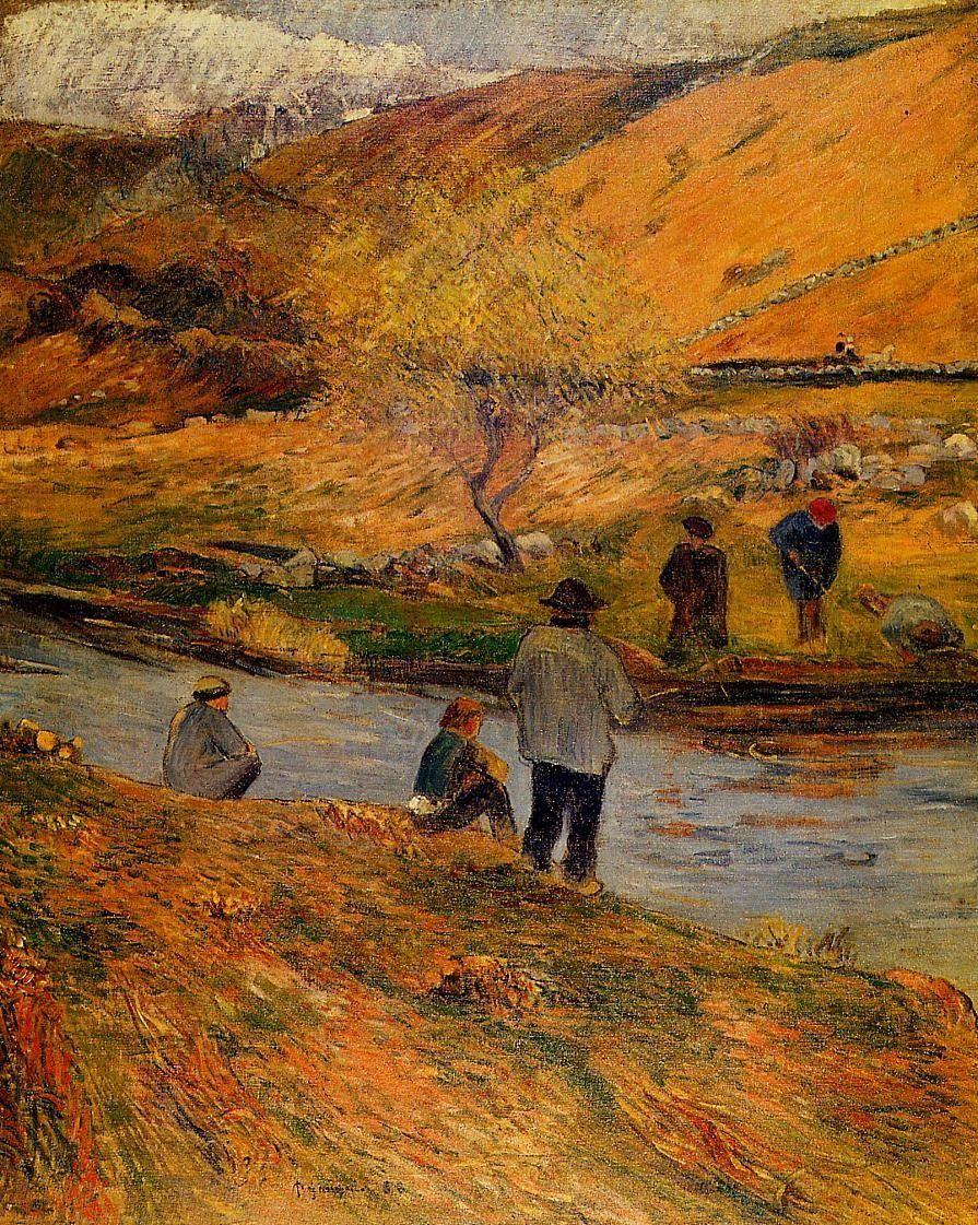 пейзаж < Бретонские рыбаки >  :: Поль Гоген [ живопись постимпрессионизм ] - Гоген Поль ( Paul Gauguin ) фото
