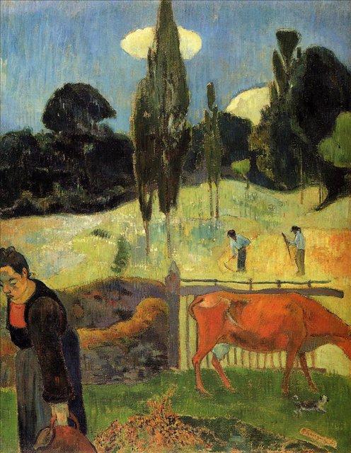 пейзаж < красная корова >  :: Поль Гоген [ живопись постимпрессионизм ] - Paul Gauguin фото