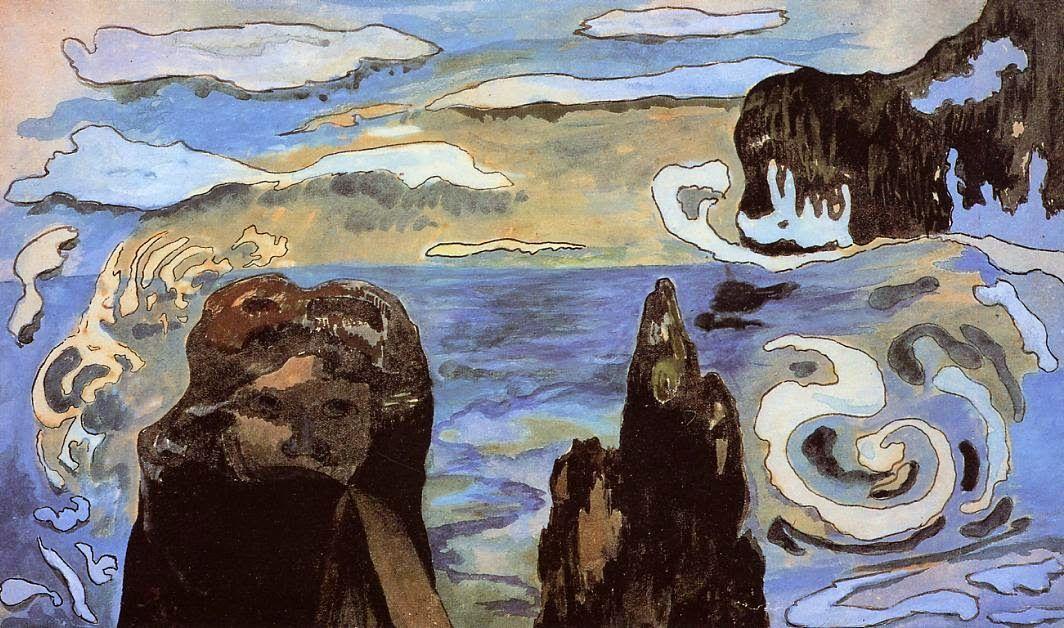 Морской пейзаж < Чёрные скалы (Скалы в море) >  :: Поль Гоген [ живопись постимпрессионизм ] - Paul Gauguin фото