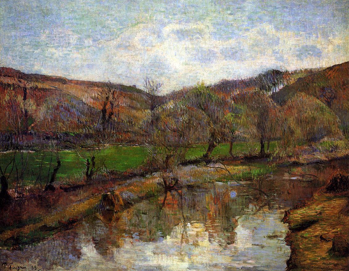 Речной пейзаж < Долина Эвен, расположенная вверх по течению Понт-Эвен >  :: Поль Гоген [ живопись постимпрессионизм ] - Гоген Поль ( Paul Gauguin ) фото