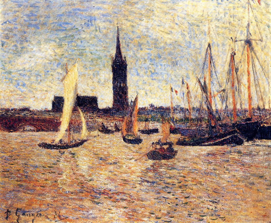 Морской пейзаж < Гавань Бордо >  :: Поль Гоген [ живопись постимпрессионизм ] - Гоген Поль ( Paul Gauguin ) фото