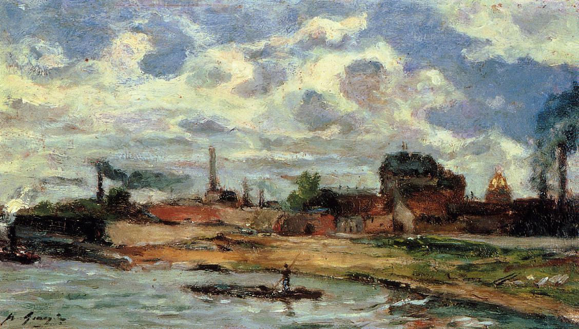 Морской пейзаж < Порт де Жавель >  :: Поль Гоген [ живопись постимпрессионизм ] - Paul Gauguin фото