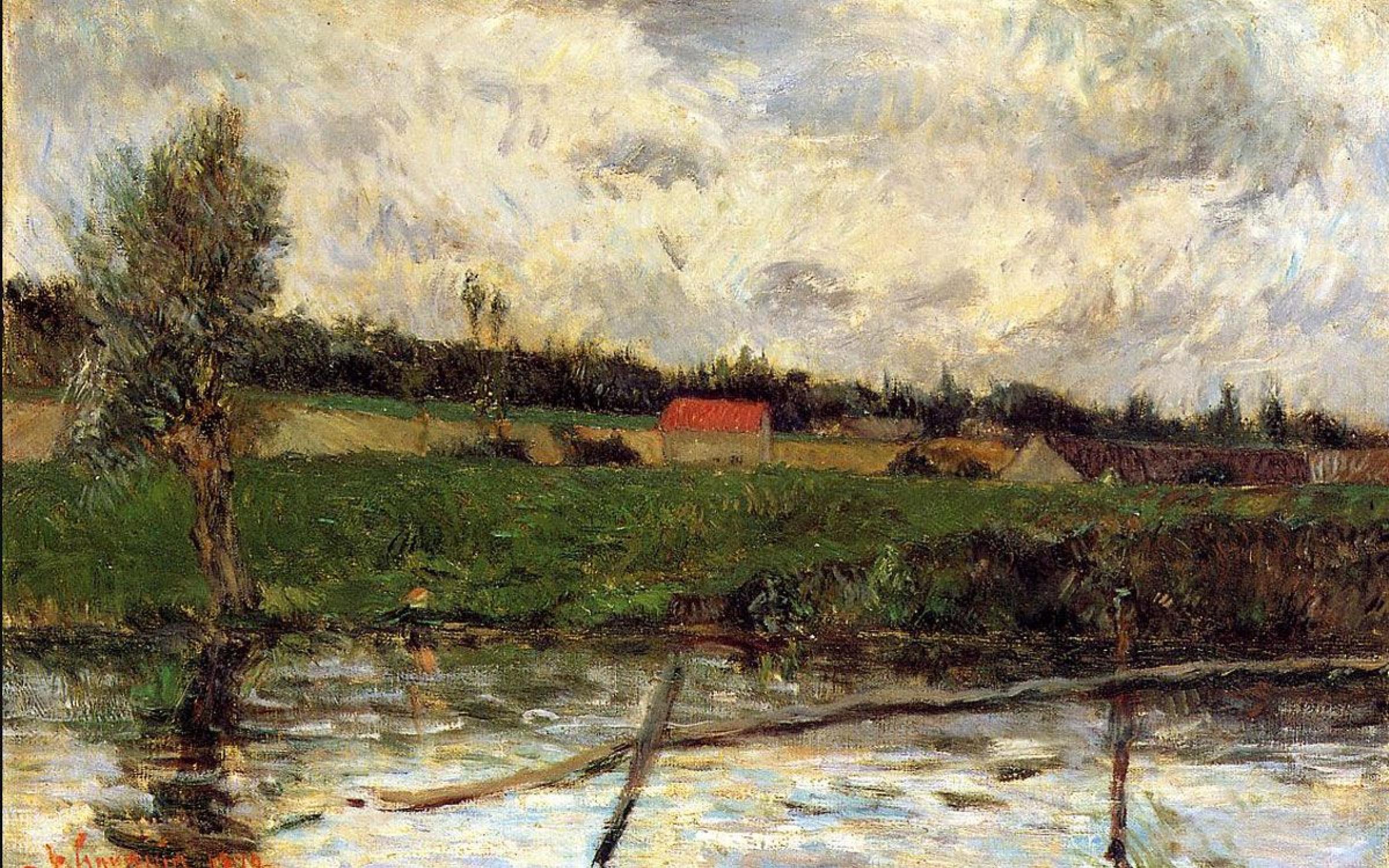 Речной пейзаж < Побережье (Пейзаж Бретони) >  :: Поль Гоген [ живопись постимпрессионизм ] - Paul Gauguin фото