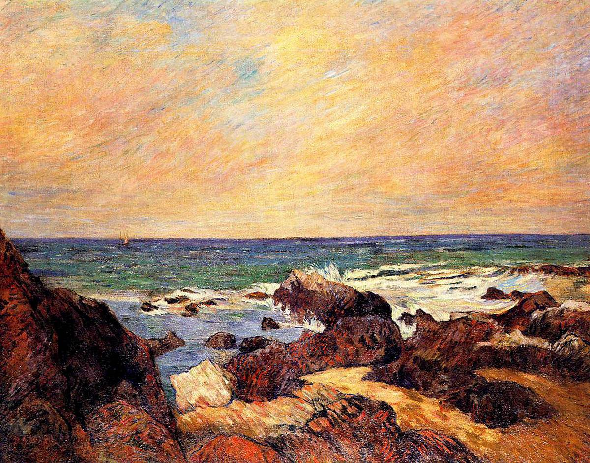 Морской пейзаж < Скалы и море >  :: Поль Гоген [ живопись постимпрессионизм ] - Paul Gauguin фото