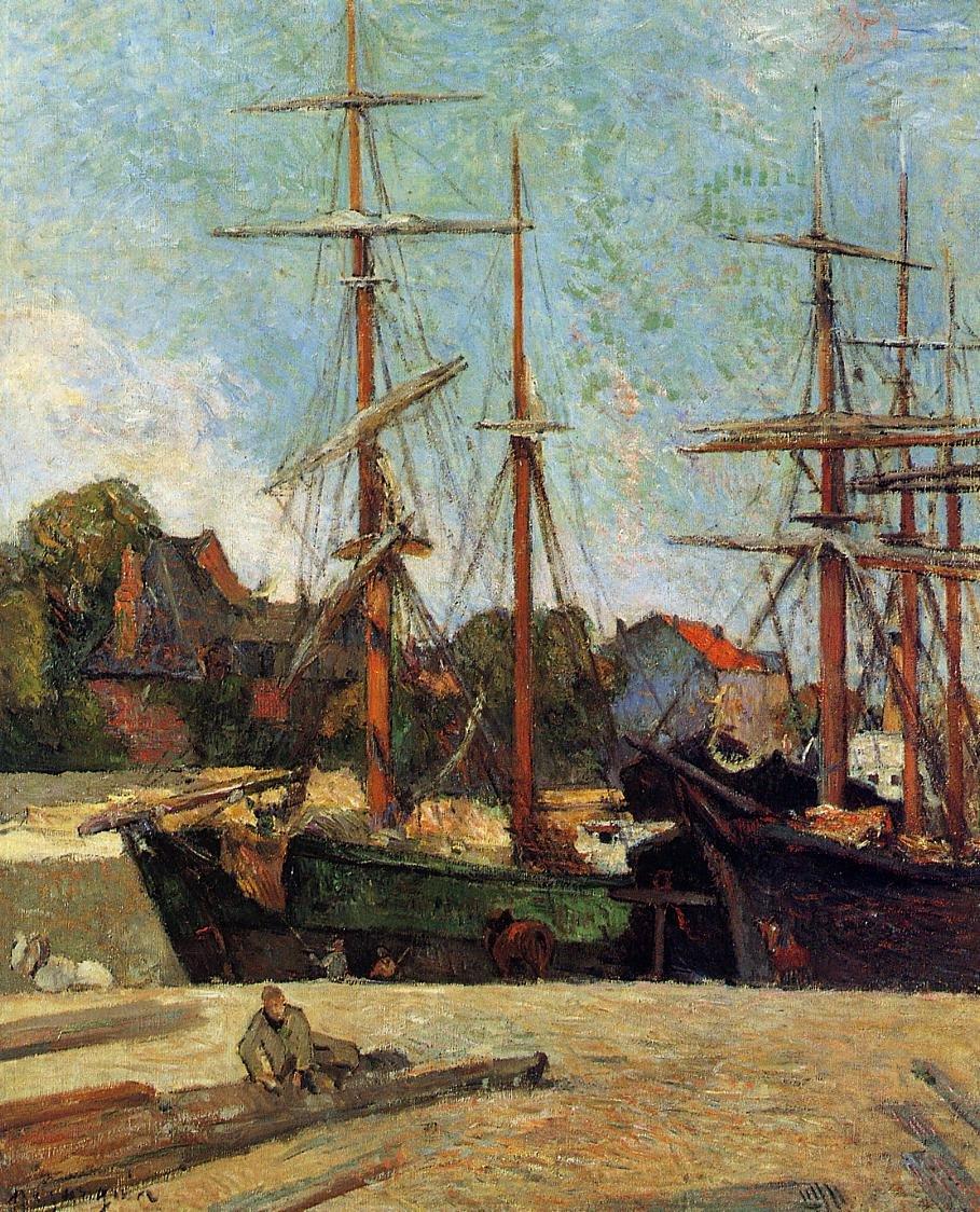 Морской пейзаж < Шхуна и трёхмачтовое судно >  :: Поль Гоген [ живопись постимпрессионизм ] - Гоген Поль ( Paul Gauguin ) фото