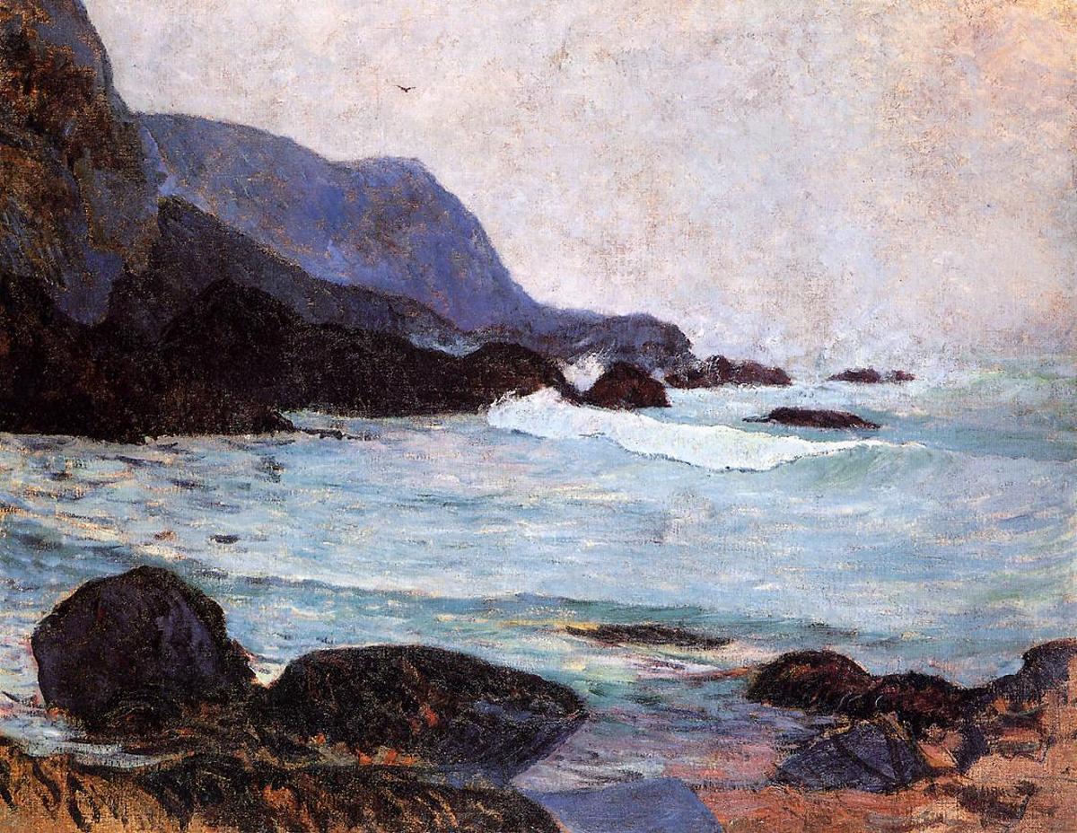 Морской пейзаж < Морское побережье Беллангенай >  :: Поль Гоген [ живопись постимпрессионизм ] - Гоген Поль ( Paul Gauguin ) фото