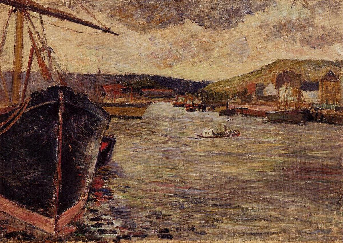 Морской пейзаж < Порт Руена >  :: Поль Гоген [ живопись постимпрессионизм ] - Гоген Поль ( Paul Gauguin ) фото