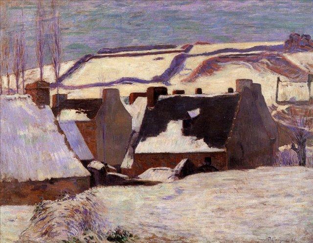Зимний пейзаж Понт-Эвен в снегу :: Поль Гоген - Paul Gauguin фото