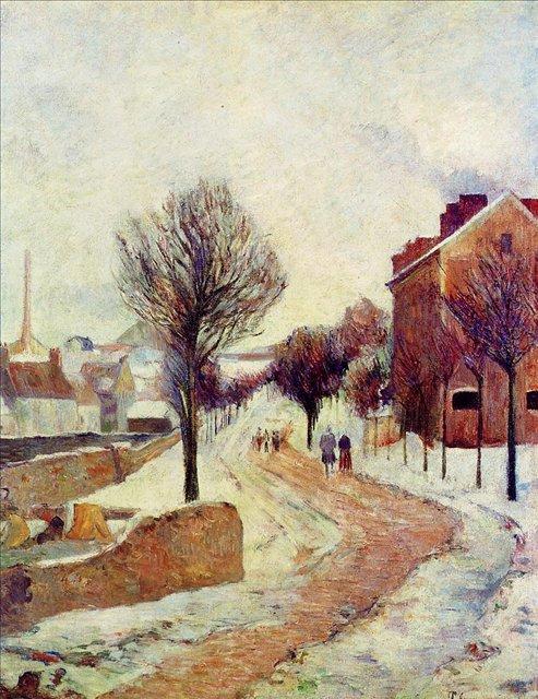 Зимний пейзаж Пригород в снегу :: Поль Гоген - Paul Gauguin фото