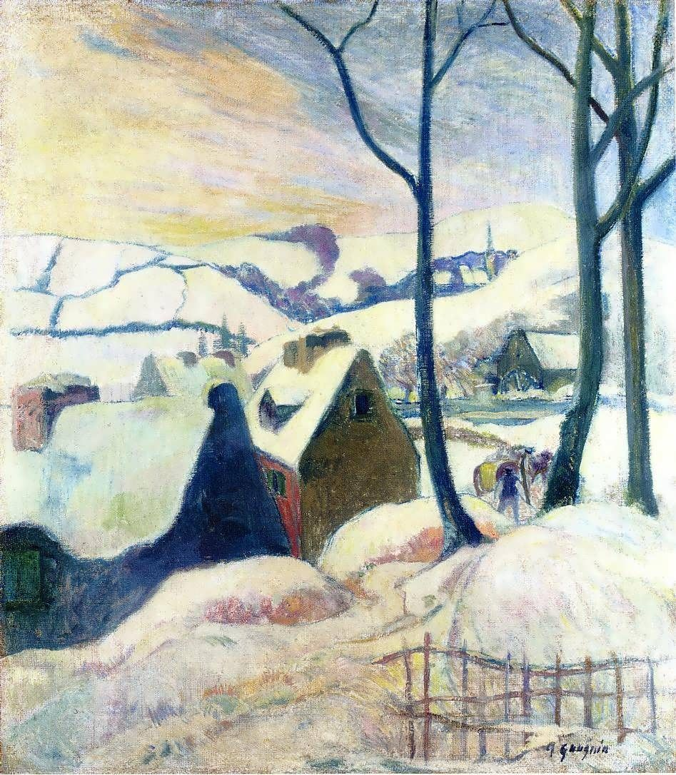 Зимний пейзаж < Деревня в снегу >  :: Поль Гоген [ живопись постимпрессионизм ] - Гоген Поль ( Paul Gauguin ) фото