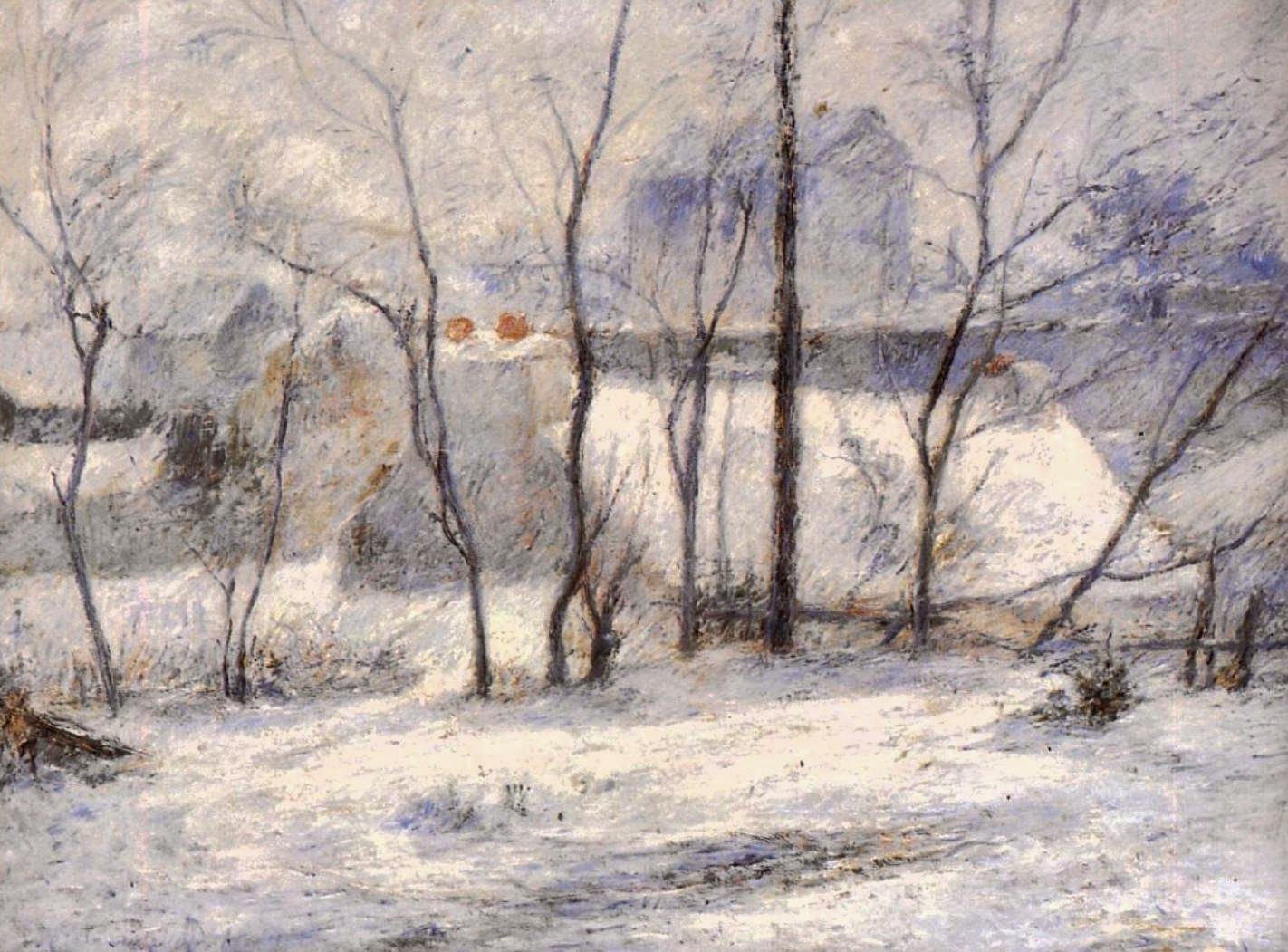 Зимний пейзаж < Зимний пейзаж, последствие снегопада (Снег в Вогирарде) >  :: Поль Гоген [ живопись постимпрессионизм ] - Гоген Поль ( Paul Gauguin ) фото