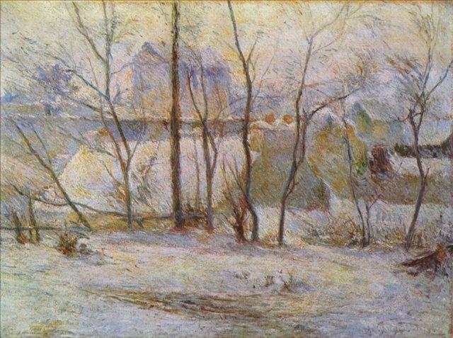 Зимний пейзаж Заснеженный сад :: Поль Гоген [ живопись постимпрессионизм ] - Paul Gauguin фото