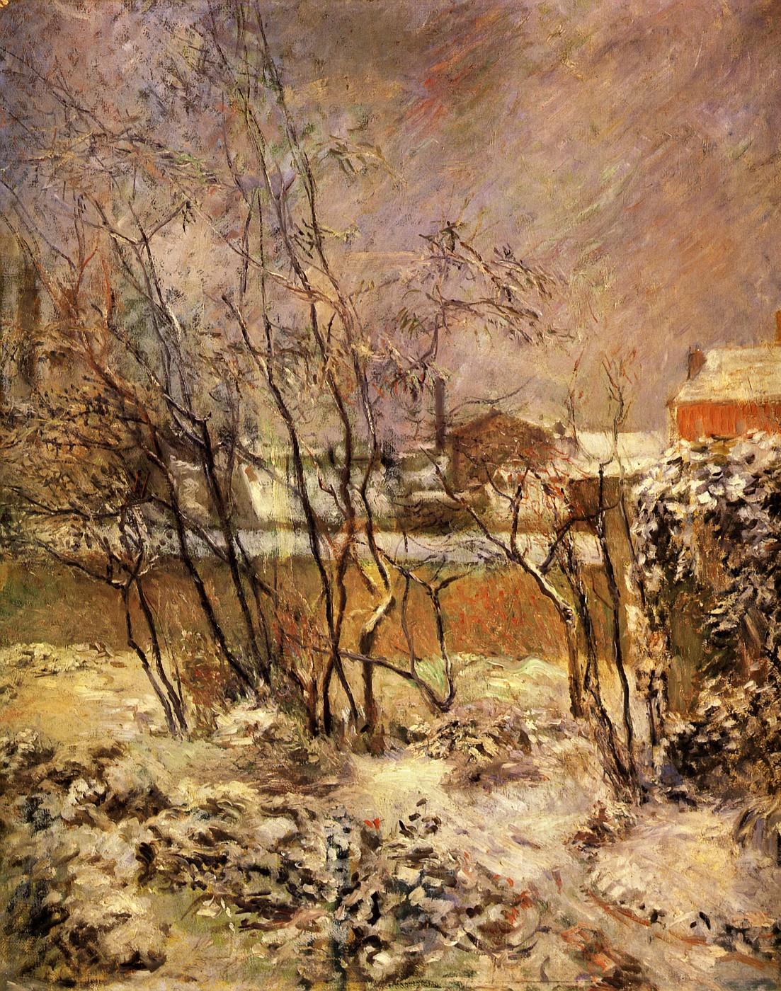 Зимний пейзаж < Снег на улице Карсель >  :: Поль Гоген [ живопись постимпрессионизм ] - Гоген Поль ( Paul Gauguin ) фото