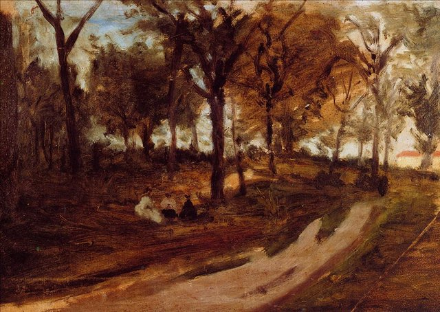 Серийный пейзаж < В лесу, Сен-Клод (набросок) >  :: Поль Гоген [ живопись постимпрессионизм ] - Paul Gauguin фото