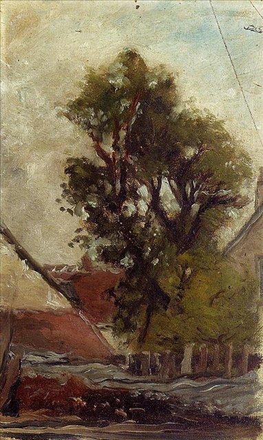 Серийный пейзаж < Дерево во дворе фермы (набросок) >  :: Поль Гоген [ живопись постимпрессионизм ] - Paul Gauguin фото