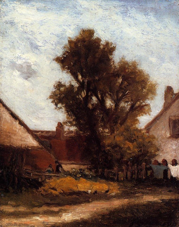 Серийный пейзаж < Дерево во дворе фермы >  :: Поль Гоген [ живопись постимпрессионизм ] - Paul Gauguin фото
