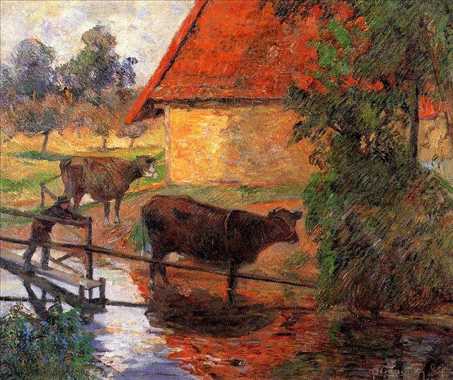 сельский пейзаж Место водопоя :: Поль Гоген - Paul Gauguin фото
