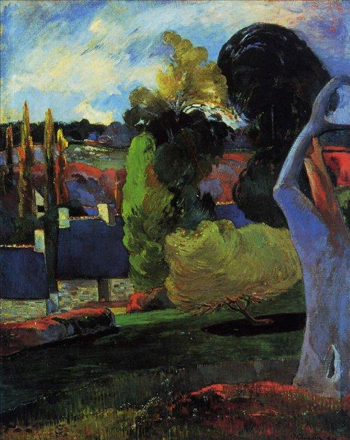 пейзаж < Ферма в Бретони >  :: Поль Гоген [ живопись постимпрессионизм ] - Paul Gauguin фото
