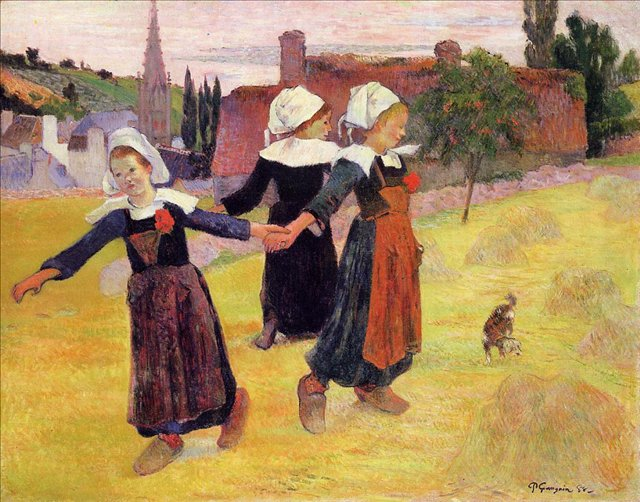 Бретонская серия < Танцующие бретонки (Танец вокруг стога сена) >  :: Поль Гоген [ живопись постимпрессионизм ] - Paul Gauguin фото