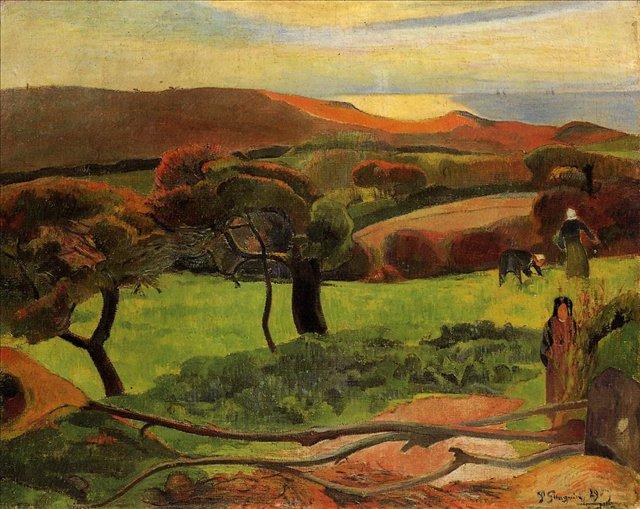 Бретонская серия < Бретонский пейзаж - лужайка близ моря (Лё Пондю)>  :: Поль Гоген [ живопись постимпрессионизм ] - Гоген Поль ( Paul Gauguin ) фото
