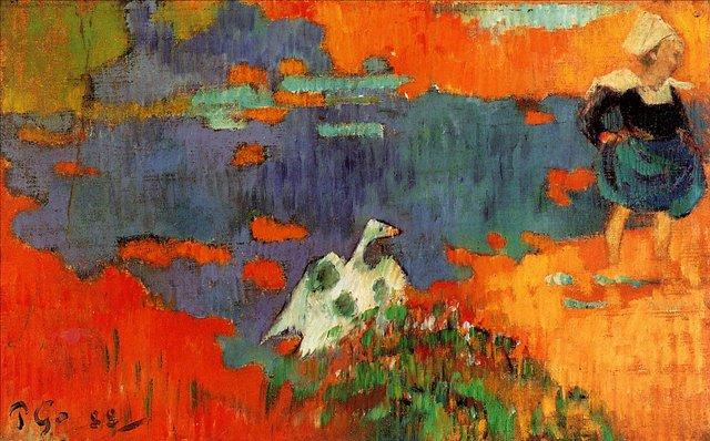 Бретонская серия < Бретонская женщина с гусём у воды >  :: Поль Гоген [ живопись постимпрессионизм ] - Гоген Поль ( Paul Gauguin ) фото