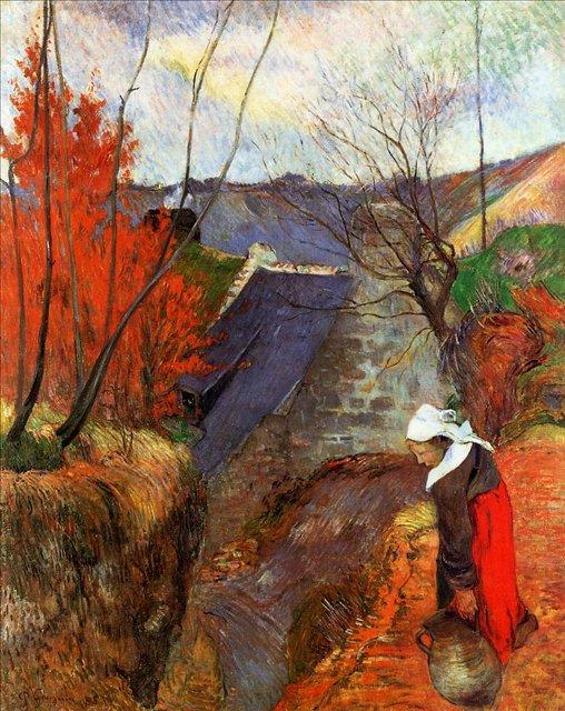 Бретонская серия < Бретонская женщина с кувшином >  :: Поль Гоген [ живопись постимпрессионизм ] - Гоген Поль ( Paul Gauguin ) фото