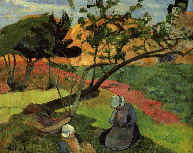 Бретонская серия < Девочки (Пейзаж с двумя бретонками) >  :: Поль Гоген [ живопись постимпрессионизм ] - Гоген Поль ( Paul Gauguin ) фото