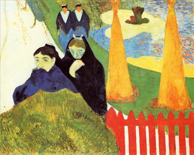 Бретонская серия < Пожилые женщины в Арли (Женщины из Арли в саду, Минсталь) >  :: Поль Гоген [ живопись постимпрессионизм ] - Paul Gauguin фото