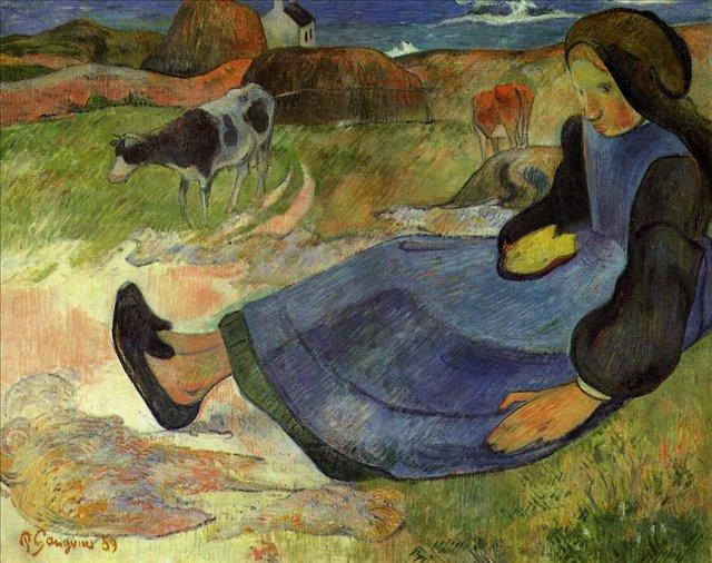 Бретонская серия < Сидящая бретонская девушка >  :: Поль Гоген [ живопись постимпрессионизм ] - Гоген Поль ( Paul Gauguin ) фото