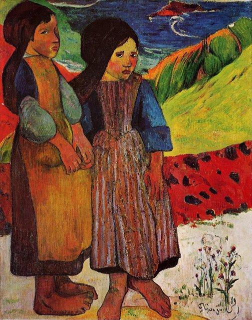 Бретонская серия < Маленькие бретонки у моря >  :: Поль Гоген [ живопись постимпрессионизм ] - Гоген Поль ( Paul Gauguin ) фото