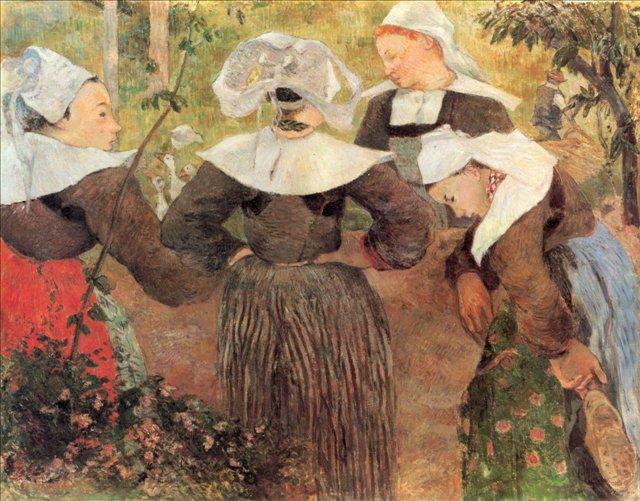 Бретонская серия < Четыре танцующие бретонки >  :: Поль Гоген [ живопись постимпрессионизм ] - Paul Gauguin фото