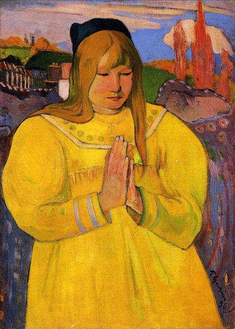 Бретонская серия < Бретонская женщина за молитвой >  :: Поль Гоген [ живопись постимпрессионизм ] - Гоген Поль ( Paul Gauguin ) фото