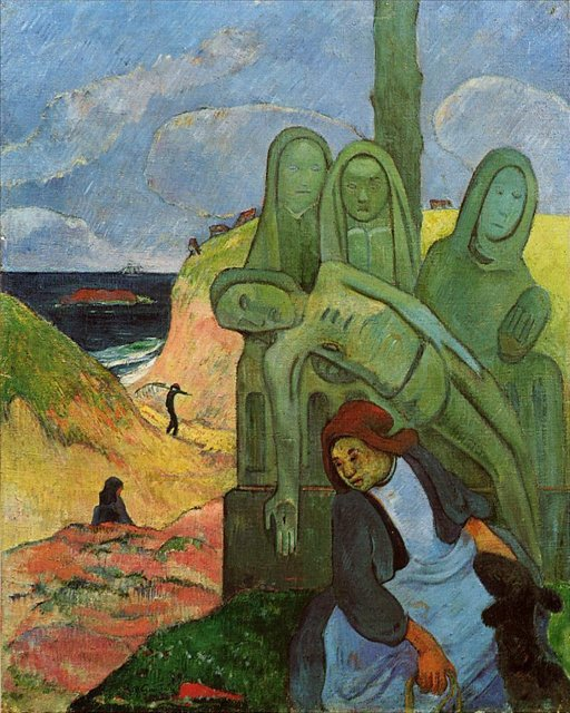 Сакральные картины < Зелёный Христос (Бретонская Голгофа) >  :: Поль Гоген [ живопись постимпрессионизм ] - Paul Gauguin фото