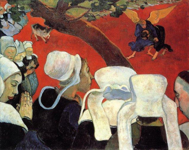 Сакральные картины  Видение после проповеди (Борьба Иакова с ангелом)  :: Поль Гоген [ живопись постимпрессионизм ] - Гоген Поль ( Paul Gauguin ) фото