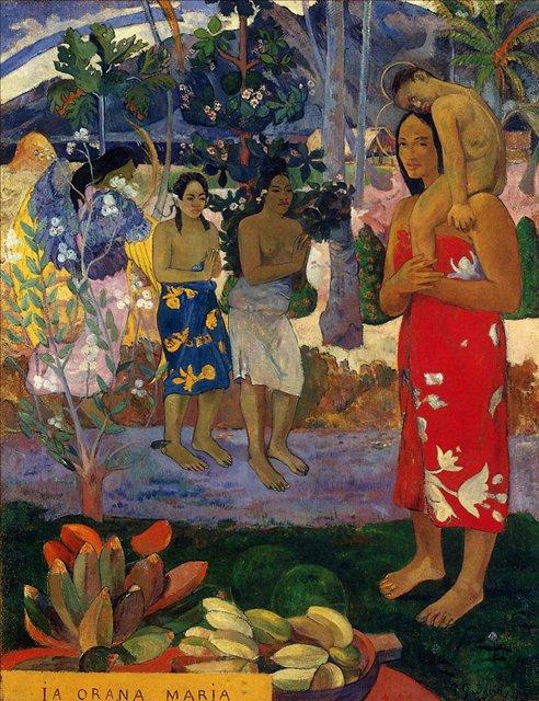 Сакральные картины < Ia Orana Maria (Приветствуя тебя, Мария) >  :: Поль Гоген [ живопись постимпрессионизм ] - Гоген Поль ( Paul Gauguin ) фото