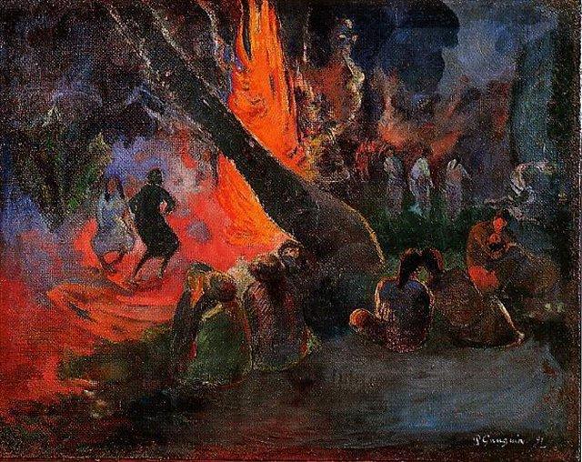 Сакральные картины < Upaupa (Танец с огнём) >  :: Поль Гоген [ живопись постимпрессионизм ] - Гоген Поль ( Paul Gauguin ) фото